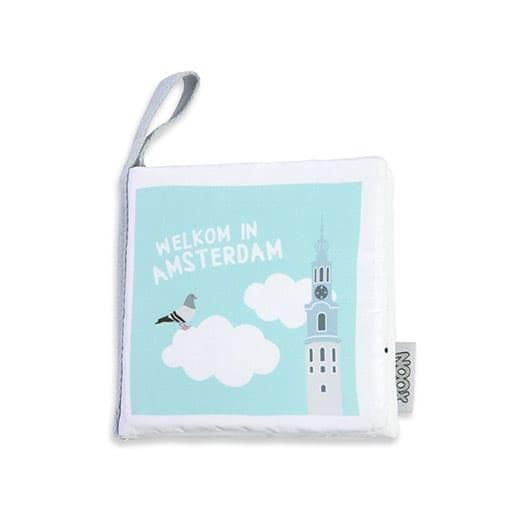 Voorkant zacht babyboekje Amsterdam met Munttoren | NOOX City Kids