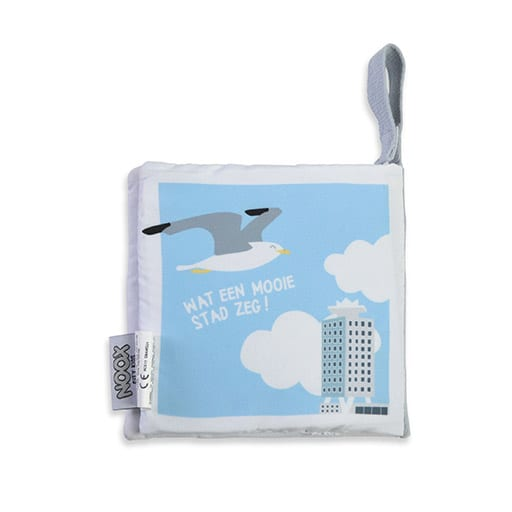 Achterkant zacht babyboekje Amsterdam met Amsterdam Tower | NOOX City Kids