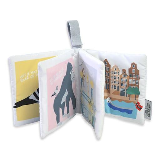 Binnenkant zacht babyboekje Amsterdam met handige strap | NOOX City Kids