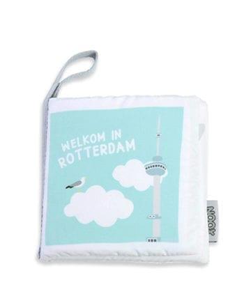 Voorkant zacht babyboekje Rotterdam met Euromast | NOOX City Kids