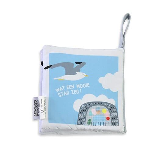 Achterkant zacht babyboekje Rotterdam met Markthal   NOOX City Kids