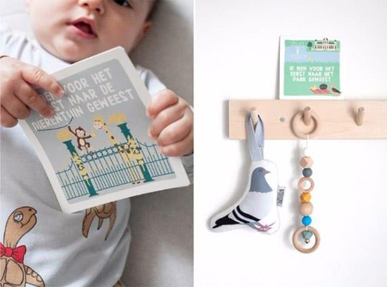 Baby met Mijn Eerste Momentjes in Rotterdam Kaarten en Soft Toy Duif | NOOX City Kids