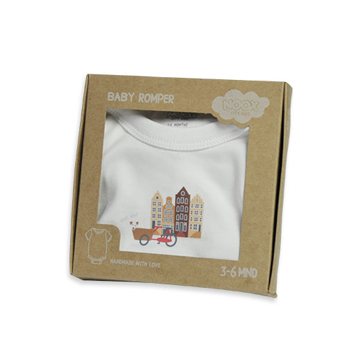 Baby Romper Amsterdam in geschenkverpakking | Originele Kraamcadeaus NOOX City Kids