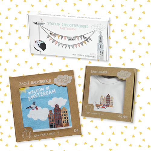 Cadeaupakket Amsterdam met zacht babyboekje, geboorteslinger en soft toy met gratis verzendkosten en korting   NOOX City Kids