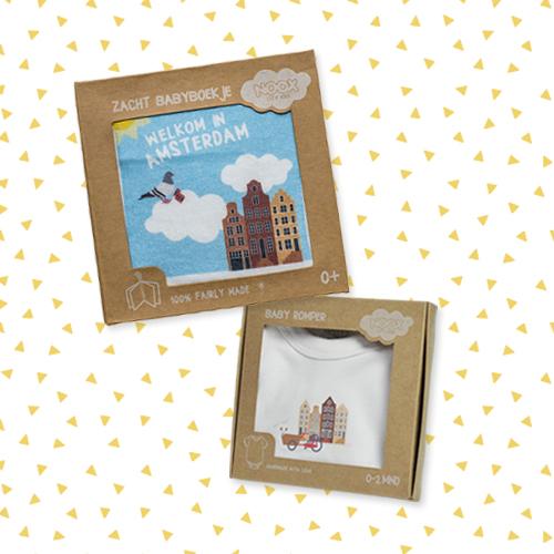 Cadeaupakket Amsterdam met zacht babyboekje en soft toy met gratis verzendkosten en korting   NOOX City Kids
