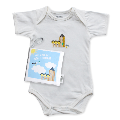 Cadeaupakket Rotterdam met zacht babyboekje en soft toy met gratis verzendkosten en korting | NOOX City Kids