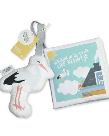 Cadeaupakket Welkom in de Stad met boekje en soft toy ooievaar | NOOX City Kids