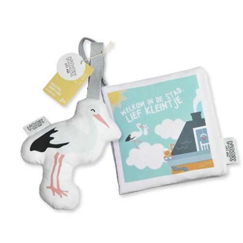 Cadeaupakket Welkom in de Stad met boekje en soft toy ooievaar   NOOX City Kids
