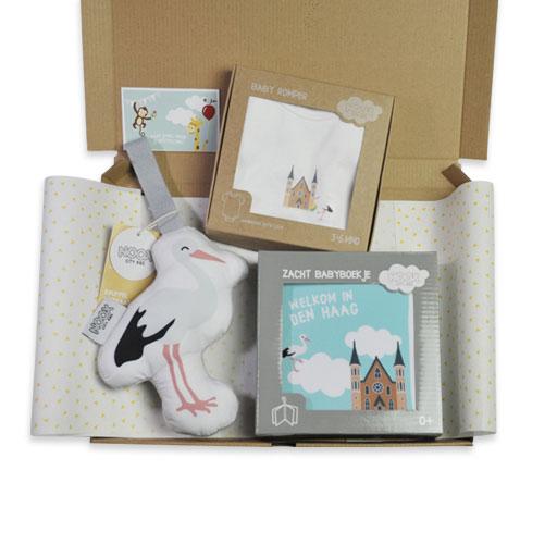 Mini kraampakket Den haag met boekje, rompertje en ooievaar | NOOX City Kids