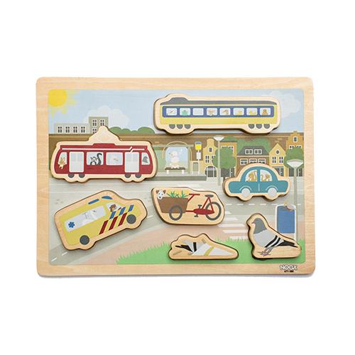 Houten chunky blocks puzzel Stad | NOOX City Kids