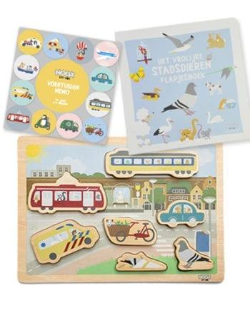 Speelgoedpakket 1+ jaar met memo spel, puzzel en flapjesboek | NOOX City Kids