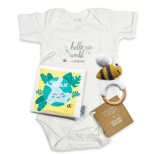 Cadeaupakket Hello World met romper, zacht babyboekje en Crochet Toy bij   NOOX City Kids