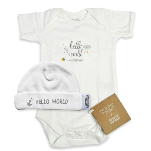 Romper en babymutsje Hello World   NOOX City Kids