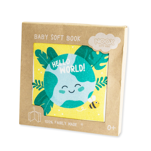 Zacht Babyboekje Hello World   NOOX City Kids